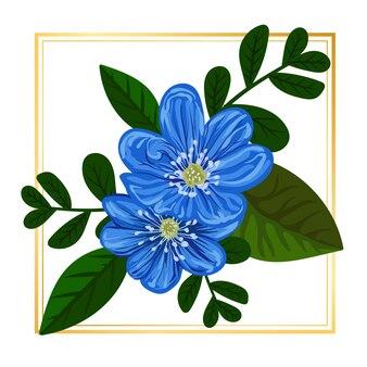 Natureza floral azul bonito com folha vintage natureza
