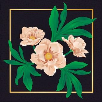 Natureza floral da folha do vintage da flor