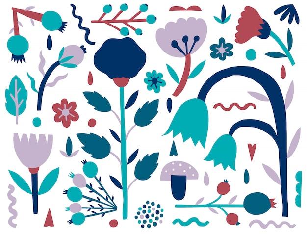 Natureza ingênua plana. forma de plantas isolada. fantasia de estilo minimalista.