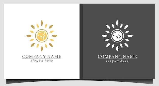 Natureza luxuosa do sol com vetor de design de logotipo de folha Vetor Premium
