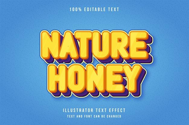 Natureza mel, efeito de texto editável 3d gradação amarela laranja roxo estilo cômico