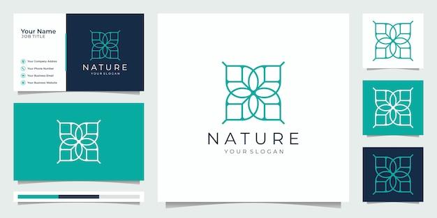 Natureza minimalista modelo de monograma floral simples e elegante, design de logotipo de arte de linha elegante, ilustração vetorial de cartão de visita.