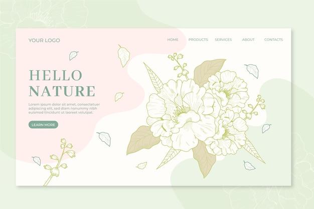 Natureza modelo de página de destino desenhado à mão