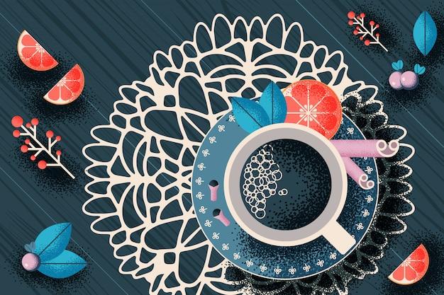 Natureza morta com uma xícara de chá na mesa
