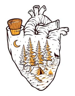 Natureza na minha ilustração de coração