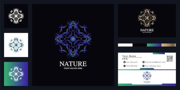 Natureza ou ornamento design de modelo de logotipo de luxo com cartão de visita.