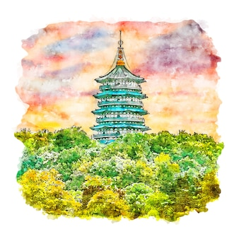 Natureza pagoda china esboço em aquarela ilustrações desenhadas à mão
