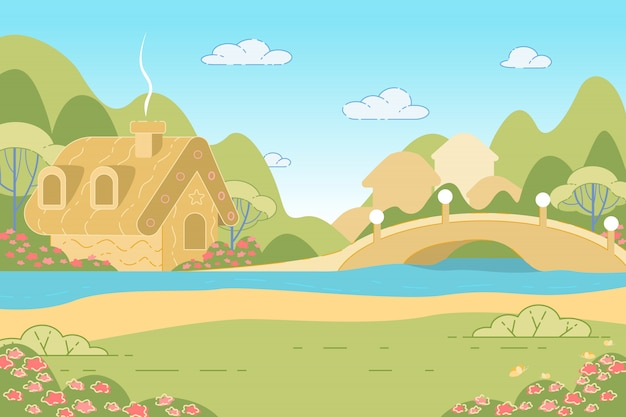 Natureza paisagem com casa de gengibre de conto de fadas