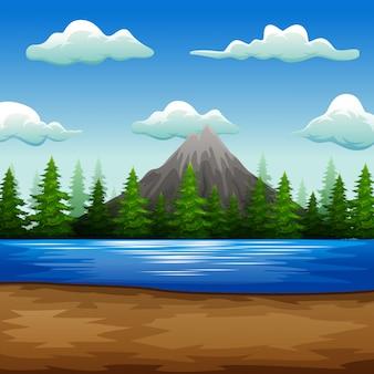 Natureza, paisagem, com, lago, e, montanha