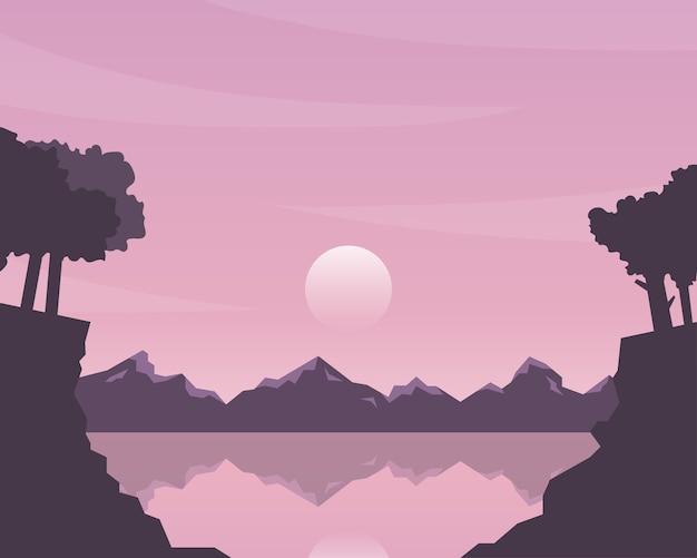Natureza paisagem com montanha, sol, céu. silhueta da paisagem