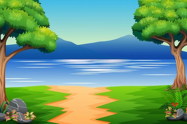 Natureza, paisagem, com, rio, e, montanha