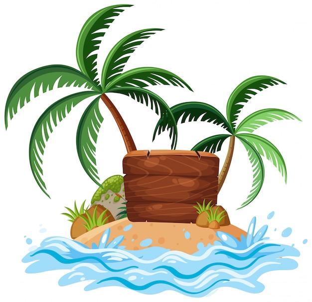 Natureza paisagem da ilha com placa de madeira