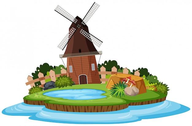 Natureza paisagem do parque com moinho de vento e lagoa