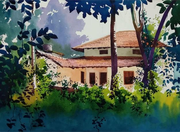 Natureza, pintura em aquarela e casa antiga desenhada à mão na ilustração da paisagem do jardim