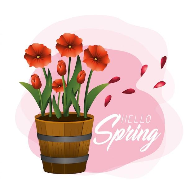 Natureza plantas de flores de primavera com folhas
