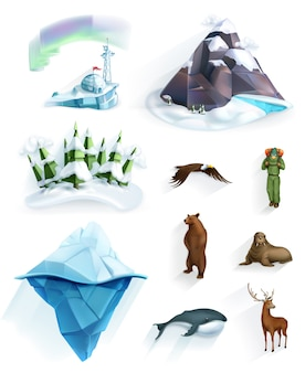 Natureza polar, país das maravilhas do inverno, conjunto de ícones de estilo low poly
