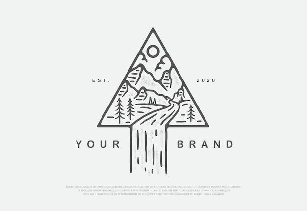 Natureza premium de design com logotipo de estilo de arte linha