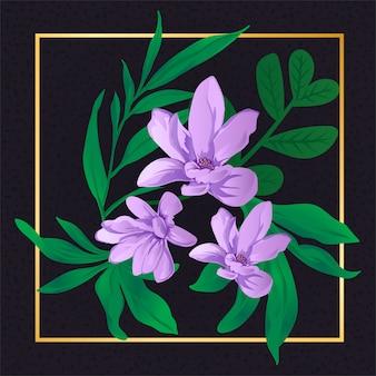 Natureza roxa da folha do vintage da flor