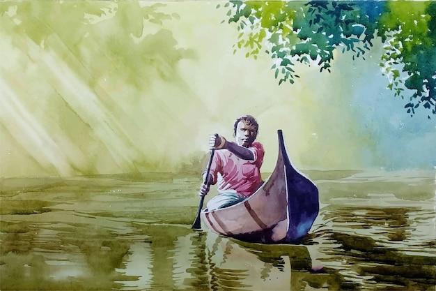 Natureza rural em aquarela, incrível reflexo da água na ilustração do rio