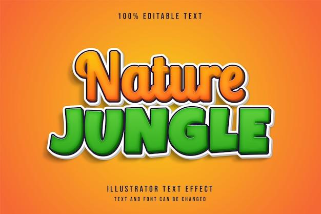 Natureza selva, efeito de texto editável gradação amarela laranja verde sombra em quadrinhos estilo de texto