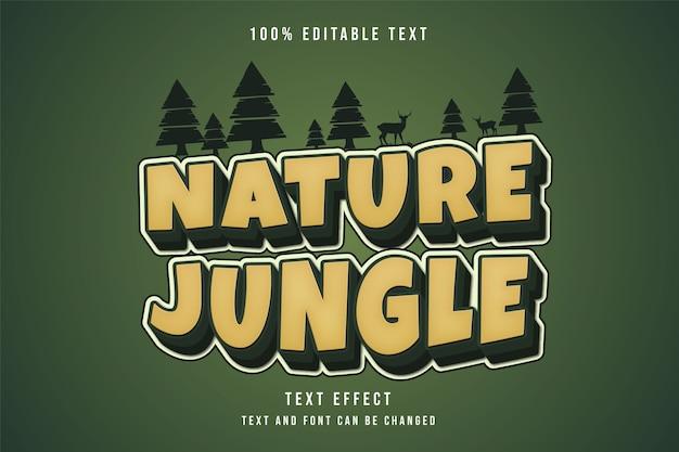 Natureza selva, efeito de texto editável gradação amarela verde estilo de texto em quadrinhos