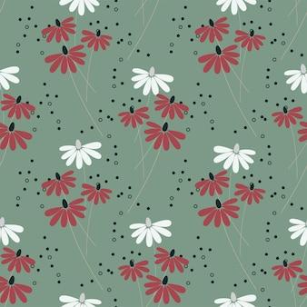 Natureza sem costura padrão jardim folhas de flores abstratas e elementos fundo verde desenhado à mão