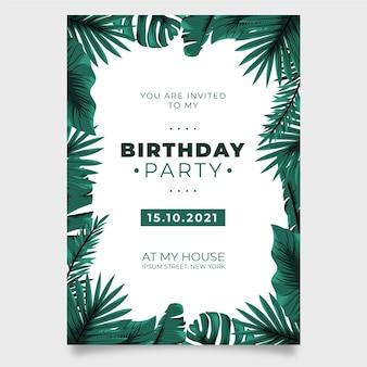 Natureza tropical com convite de festa de aniversário de folhas exóticas