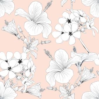 Natureza tropical de padrão uniforme com desenho à mão de flores de hibisco floral