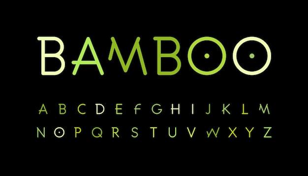 Natureza verde alfabeto bambu ramo estilo composto fonte floresta tropical fonte natural floresta asiática conjunto de