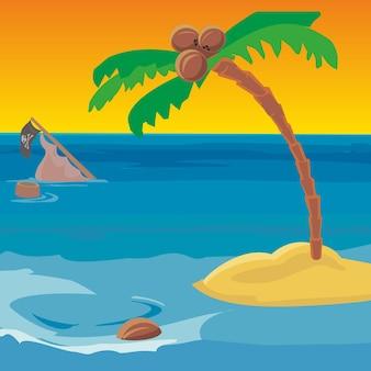 Naufrágio e uma ilha deserta com um coqueiro. ilustração em vetor plana