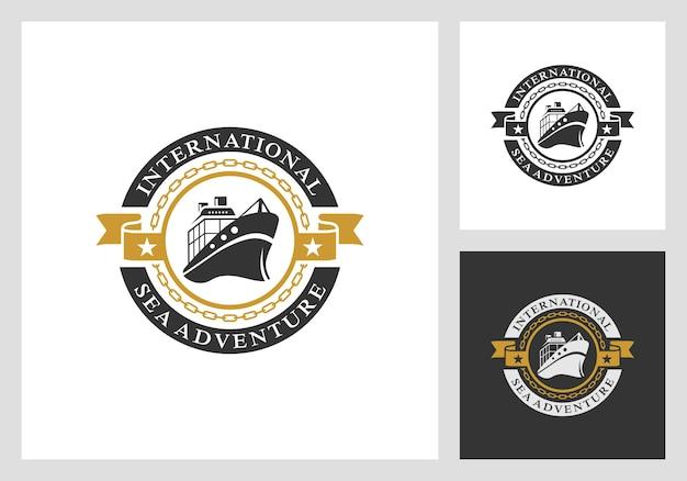 Náutico, marinho, design de logotipo de vela em estilo vintage
