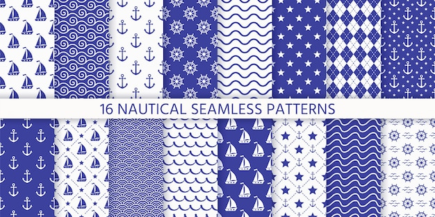 Náutico monocromático padrão sem emenda. ilustração. fundos marinhos.