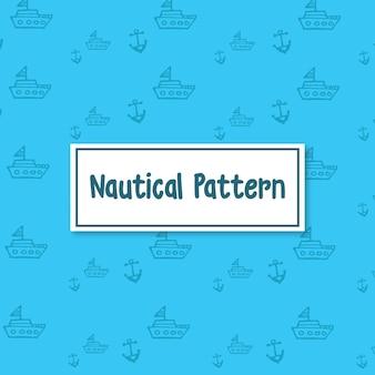 Náutico navio e âncora vetor padrão de fundo em azul