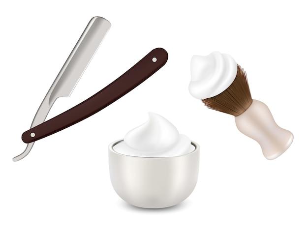 Navalha do barbeiro, escova de barba e caneca com espuma