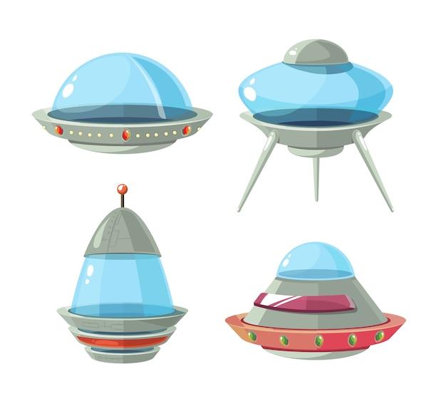 Nave alienígena dos desenhos animados, naves espaciais e conjunto de vetores de ufo. navio cósmico em forma de pires para transporte