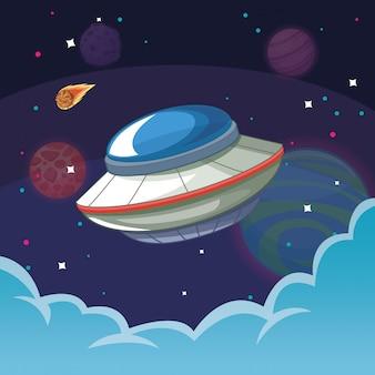 Nave alienígena ufo na galáxia