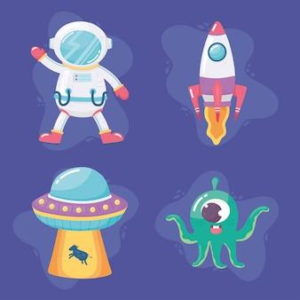 Nave espacial astronauta nave espacial alienígena e ufo galáxia espacial astronomia ilustração dos desenhos animados