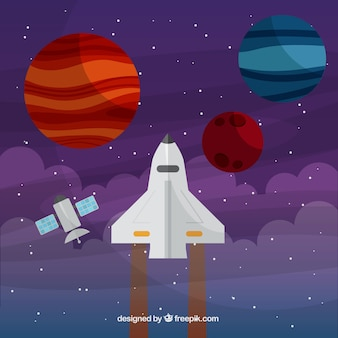 Nave espacial com planetas fundo