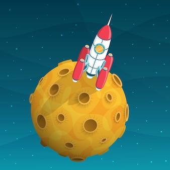 Nave espacial de foguete está no planeta amarelo com crateras