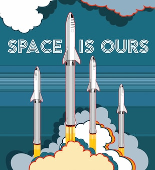 Nave espacial de foguete lançamento vector estilo retro