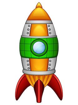Nave espacial do foguete dos desenhos animados isolada no fundo branco