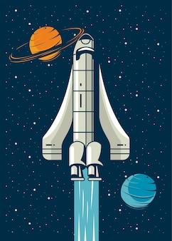 Nave espacial e planetas em pôster ilustração estilo vintage