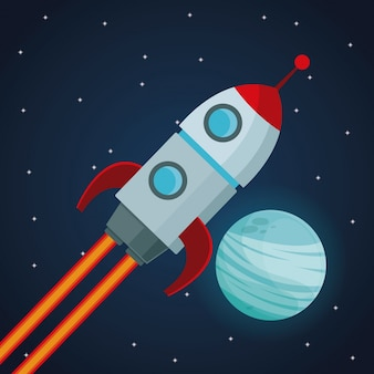 Nave espacial e veja o planeta neptuno