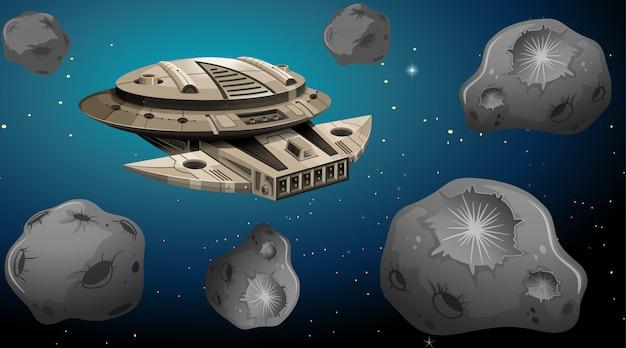 Nave espacial em cena de asteróides