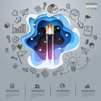 Nave espacial lançando infográficos de negócios