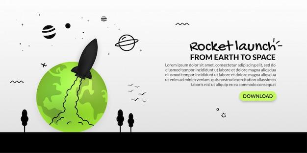 Nave espacial lançando-se da terra no fundo branco, negócios globais iniciar conceito