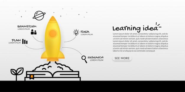 Nave espacial lançando-se do livro para o espaço, conceito de arranque de negócios