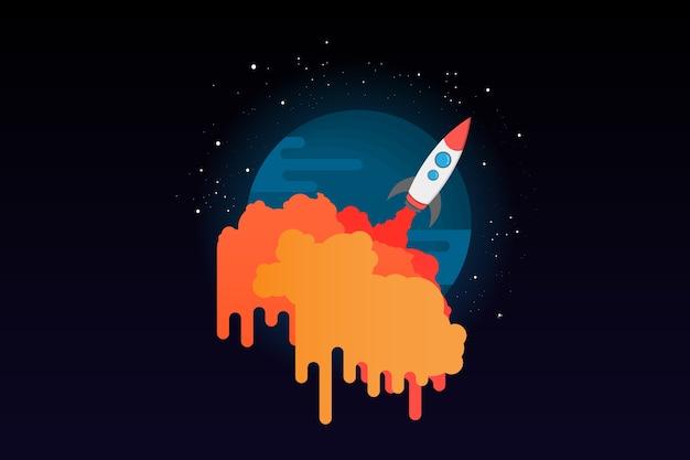 Nave espacial, mosca, para, espaço, bandeira, conceito, ícone