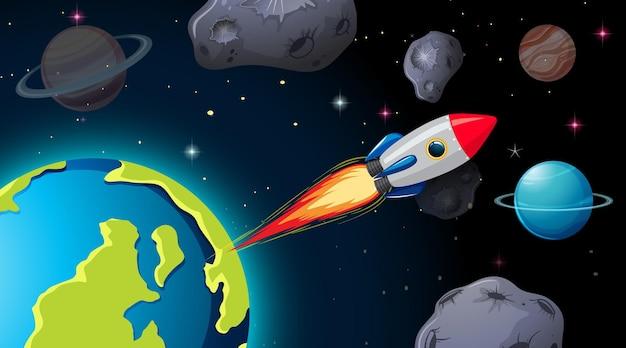 Nave espacial na cena do espaço com planetas e asteróides