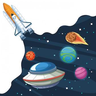Nave espacial na galáxia milkyway